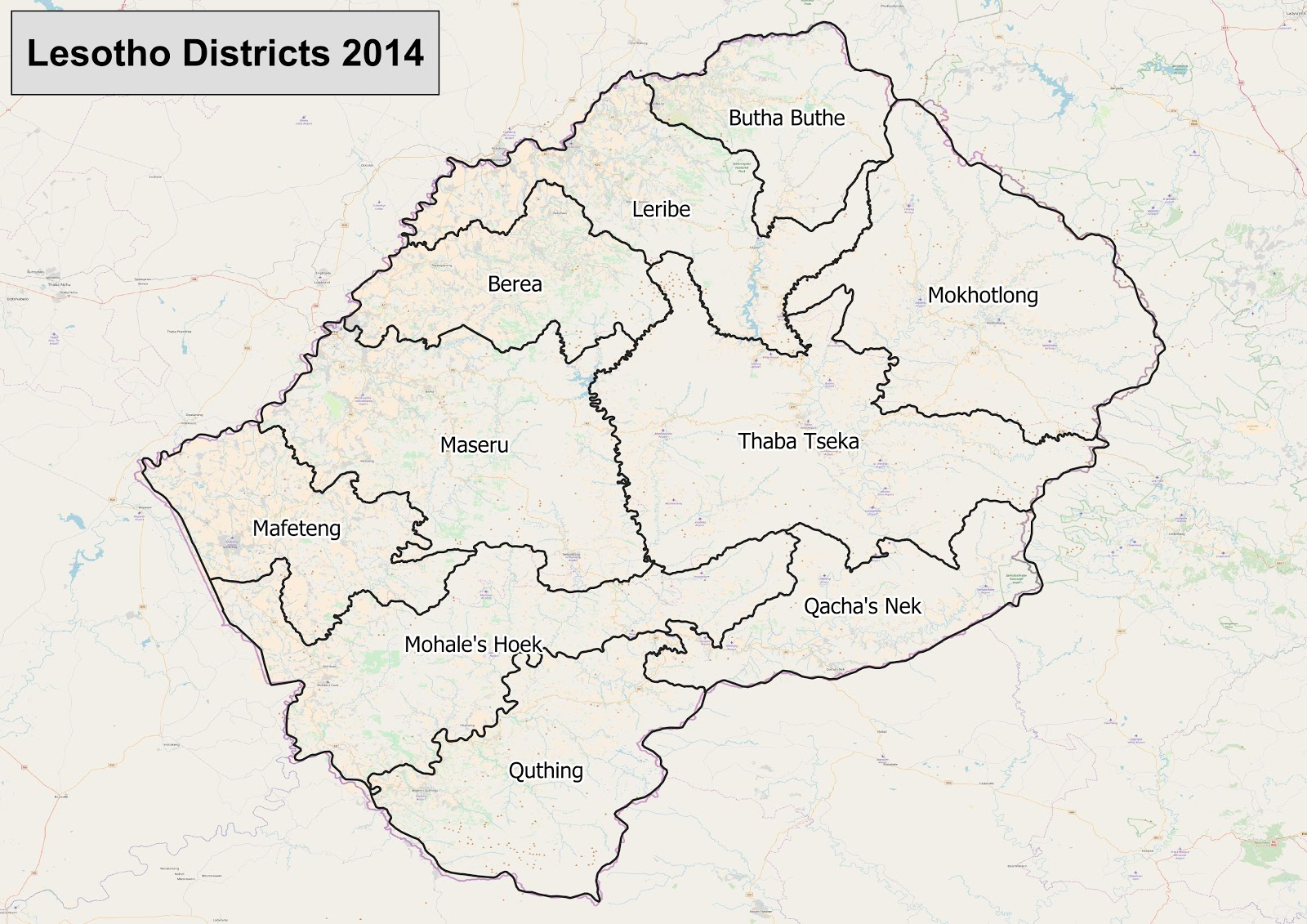 Lesotho districts